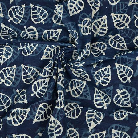 Blue and White Leaf Design Cotton Indigo Block Print Fabric-14352