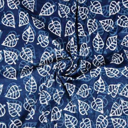 Blue and White Leaf Design Indigo Cotton Block Print Fabric-14372