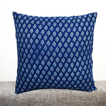 Blue and White Leaf design Indian Block Print Cotton Cushion Cover