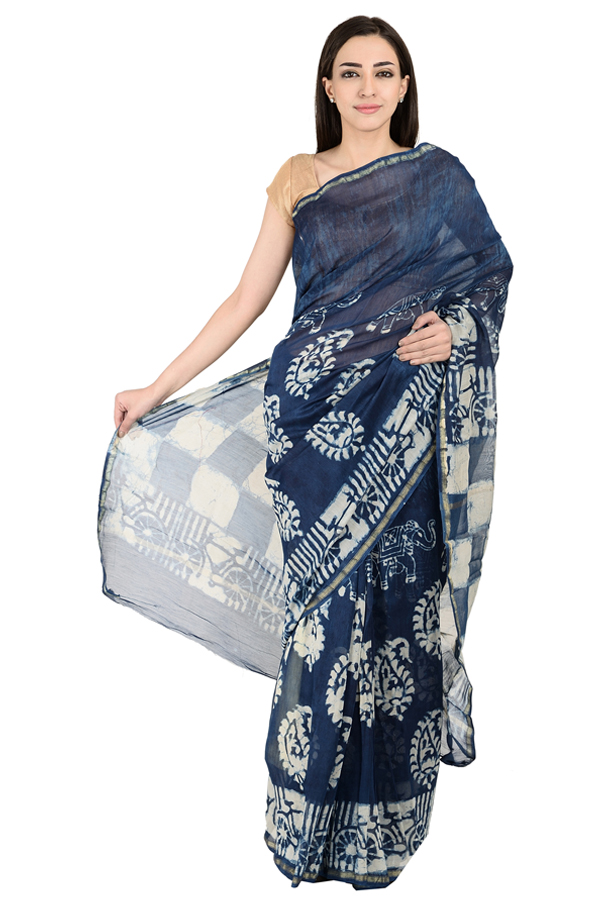 Blue and White Paisley Design Block Print Chanderi Saree-20142