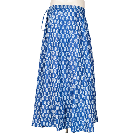 Blue and White Paisley Design  Block Print Cotton Long Skirt-23091