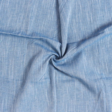 Blue and White Plain Slub Samray Handloom Fabric-40016