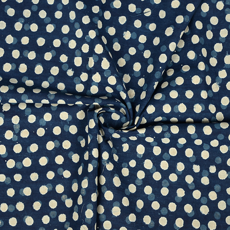 Blue and White Polka Design Cotton Indigo Block Print Fabric-14354