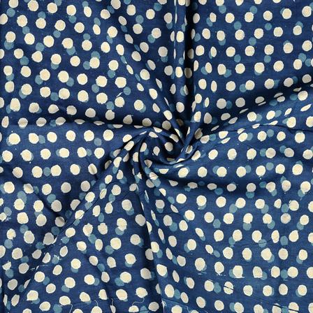 Blue and White Polka Design Indigo Cotton Block Print Fabric-14385