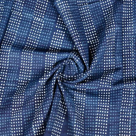 Blue and White Polka Pattern Indigo Cotton Block Print Fabric-14387