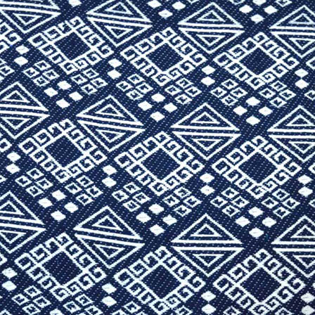 Blue and White Square Design Cotton Jacquard Fabric-31017