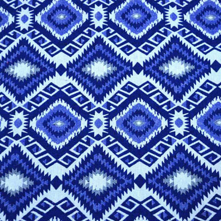 Blue and White Square Pattern Cotton Jacquard Fabric-31023