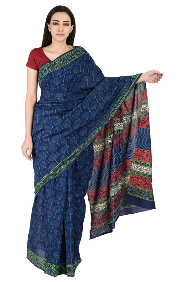 Blue and White Tree Pattern Cotton Block Print Saree-20137