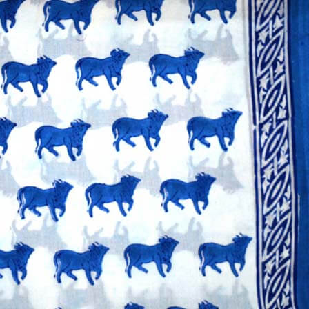 Blue and White Unique Bull Hand Block Print Indian Cotton Fabric