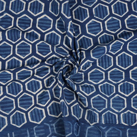 Blue and White Unique Design Indigo Cotton Block Print Fabric-14466