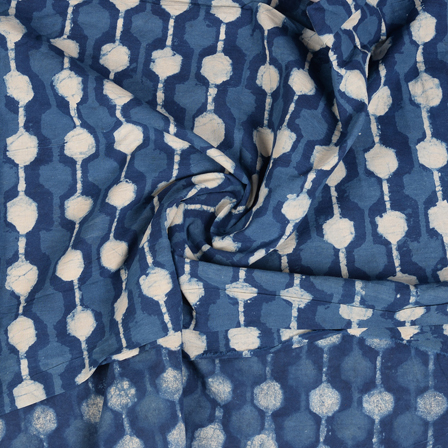 Blue and White Unique Design Indigo Cotton Block Print Fabric-14472