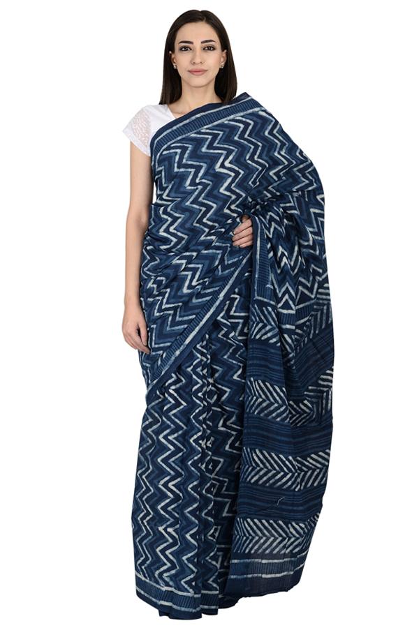 Blue and White Zig Zag Design Cotton Indigo Block Print Saree-20065