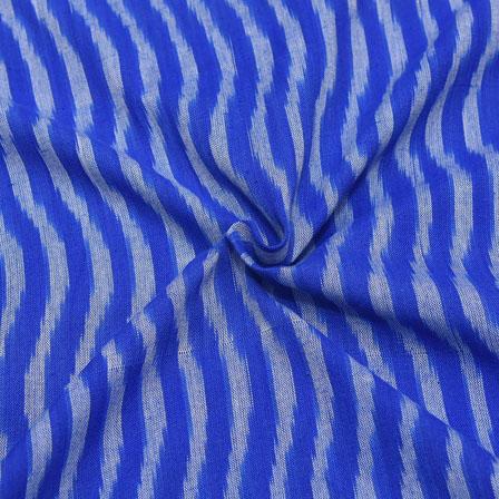 Blue and White Zig-Zag Design Ikat Fabric-12039