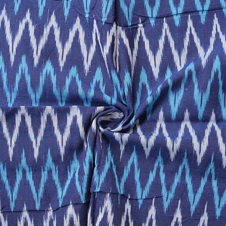 Blue and White Zig Zag Pattern Ikat Cotton Fabric-12070