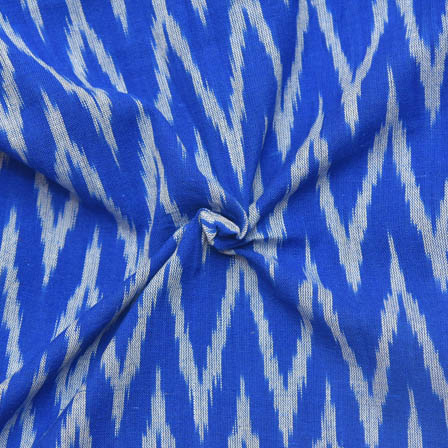Blue and White Zig-Zag Pattern Ikat Fabric-12018