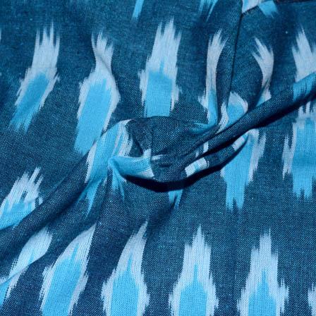 Blue and White Zig Zag Pattern Ikat Fabric-5694