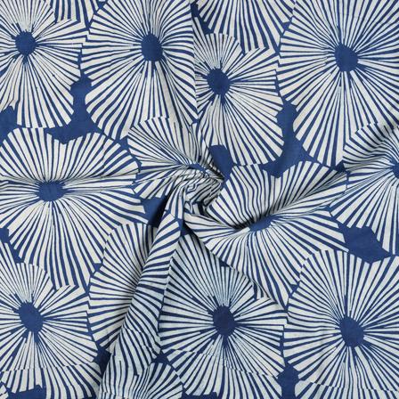 Blue and White big Floral Design Indigo Cotton Block Print Fabric-14492