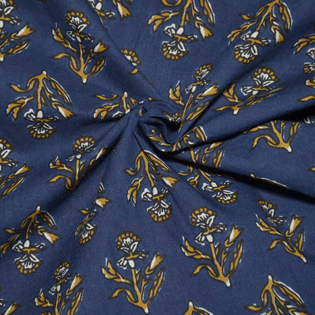 Blue and Yellow Flower Design Block Print Cotton Fabric-14037