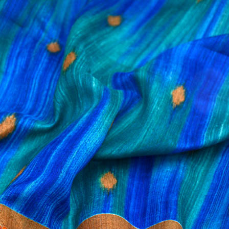Blue and golden foil printed kota doria fabric-4943