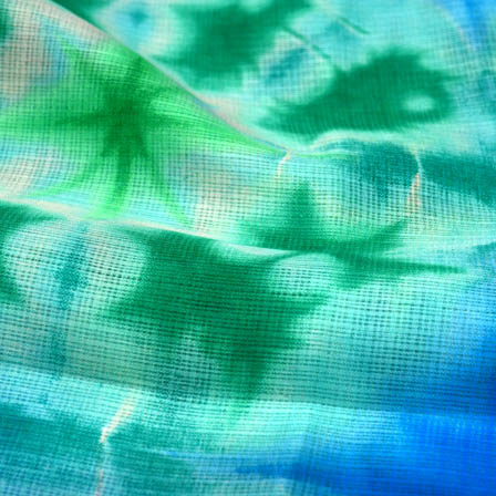 Blue and green shibori kota doria fabric-4960