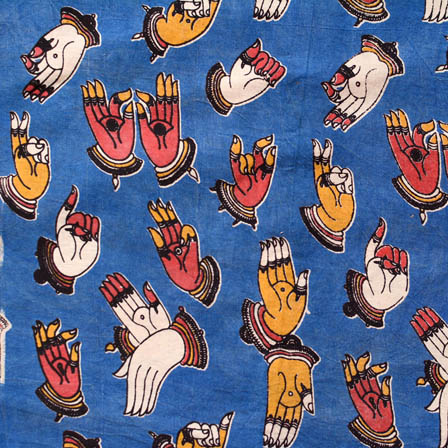 Blue and red-Yellow small hand kalamkari cotton fabric 4471
