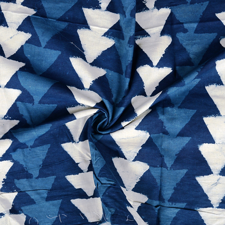 Blue and white Triangle Design Indigo Cotton Block Print Fabric-14382