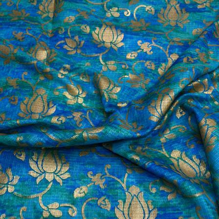 Blue floral foil printed kota doria fabric-4941