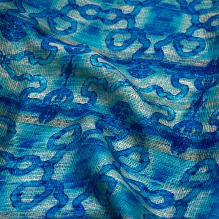 Blue flower kota doria fabric-4956
