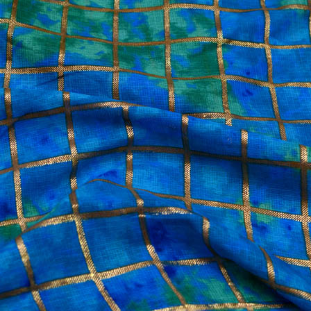 Blue foil printed square kota doria fabric-4934