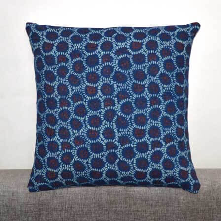 Blue red and White Ajrakh Block Print Cotton Cushion Cover