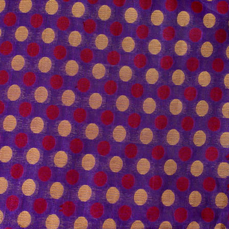 Blue-red and golden small polka pattern silk brocade fabric-4619