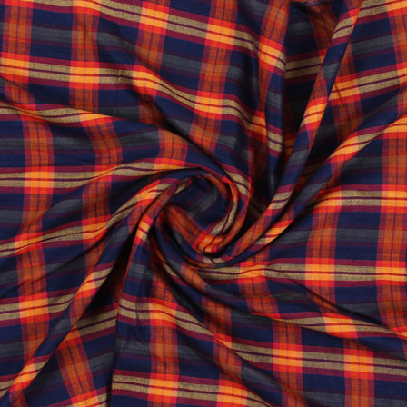 Blue yellow and Red Check Handloom Khadi Cotton Fabric-40435