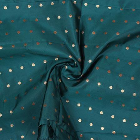 Bottle Green Golden Polka Brocade Silk Fabric-9350