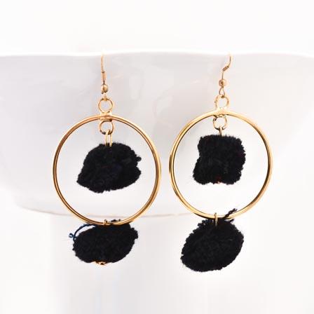 Brass Drop Black Handcrafted Pom Pom Earring for Women
