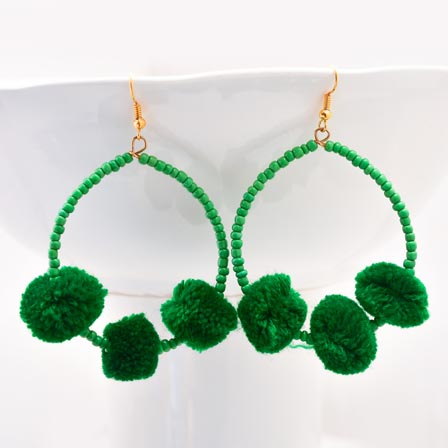 Brass Drop Dark Green Handcrafted Pom Pom with Green pearls Earring for Women