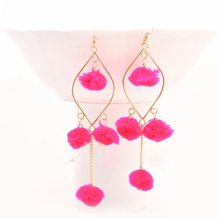 Brass Drop Earrings with Pink Pom Pom for Women