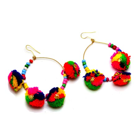 Brass Drop Multicolor Handcrafted Pom Pom with Multicolor pearls Earring for Women
