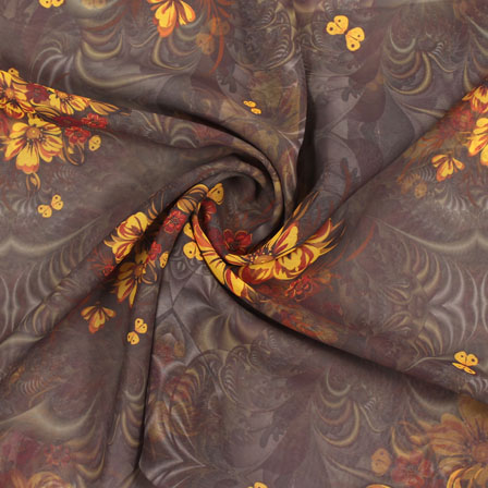 Brown Yellow Flower Georgette Silk Fabric-15101