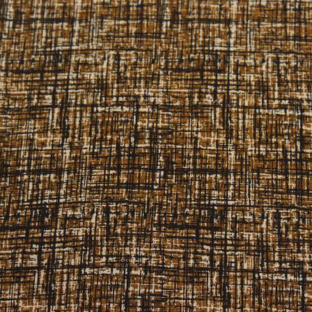 Brown Block Print Cotton Fabric-14803