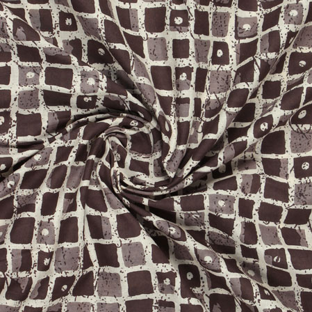 Brown Beige Block Print Cotton Fabric-16048