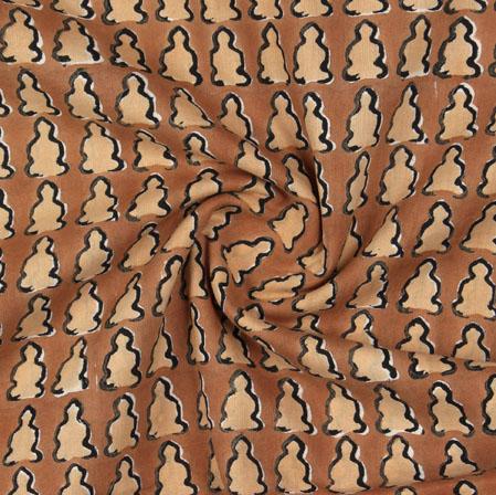 Brown Beige Block Print Cotton Fabric-16071