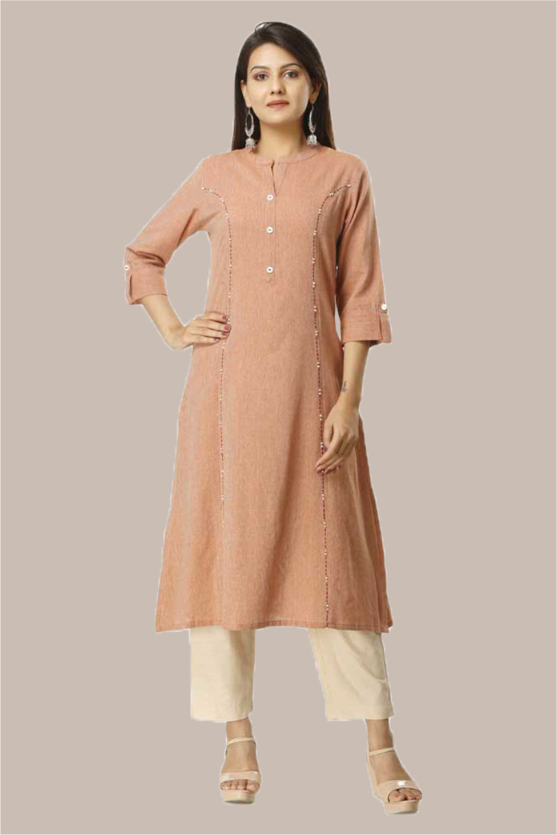 Kurta Pant Set-Brown Beige Handloom Cotton Kurta Plain Ankle Length Pant Set-33741