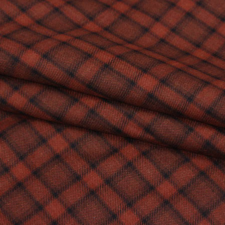 Brown Black Checks Wool Fabric-90101