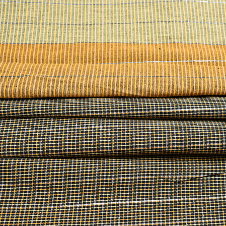 Brown Black Stripe Cotton Fabric-42383