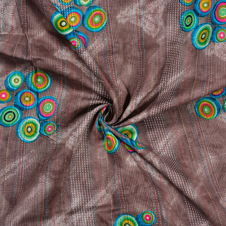 Brown Blue Circle Cotton Kantha Print Fabric-28381