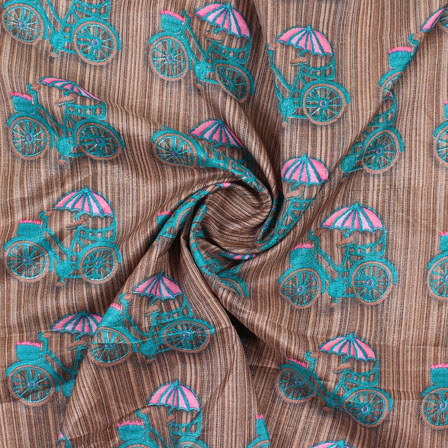 Brown Blue Manipuri Silk Fabric-16426