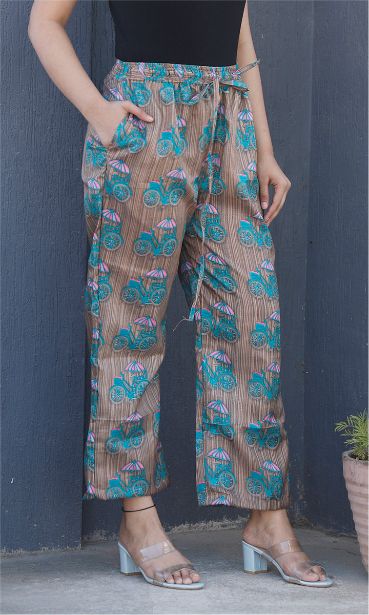 Brown Blue Manipuri Silk Cycle Palazzo Pant-34499