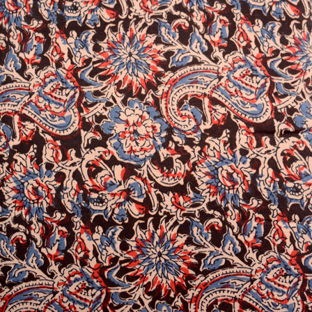 Brown-Blue and Beige Paisley Design Kalamkari-Screen Fabric-5483