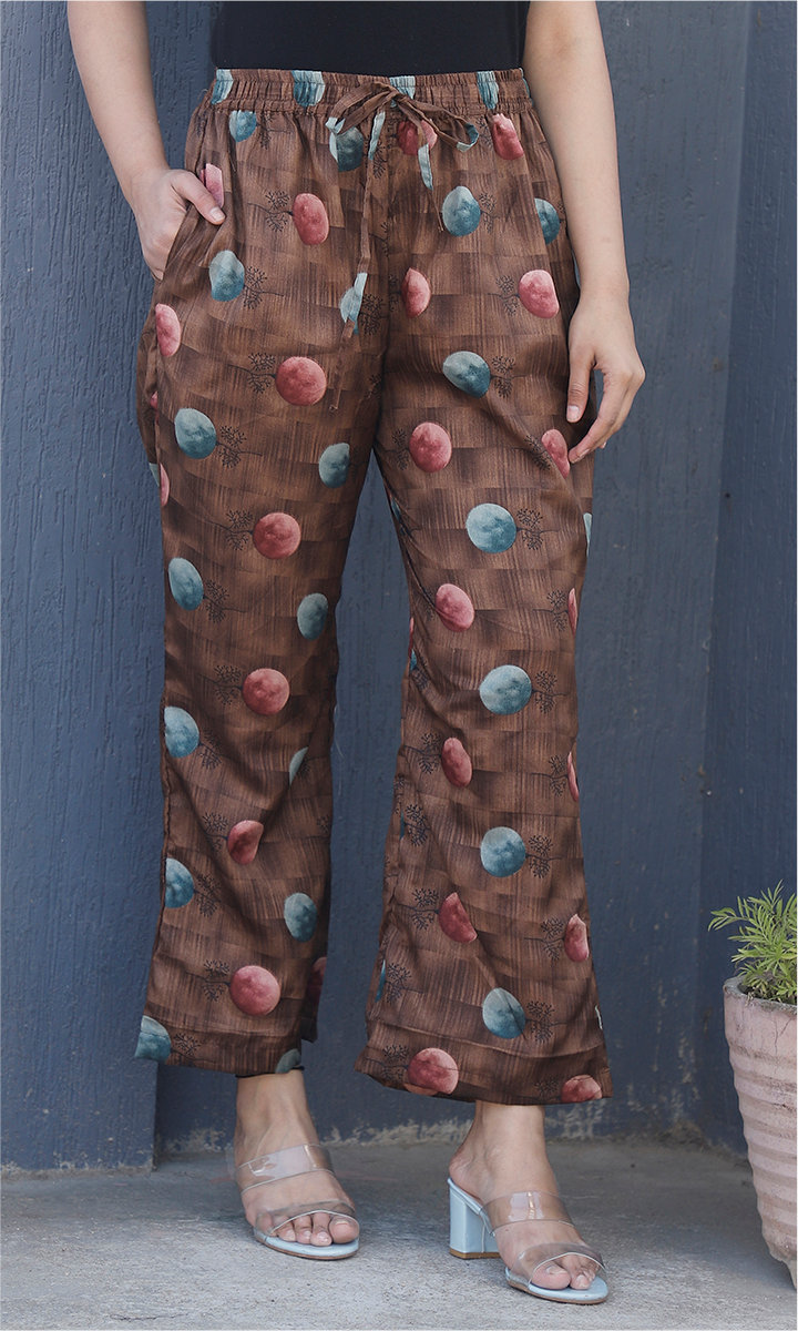 Brown Blue and Wine Manipuri Silk Palazzo Pant-34497