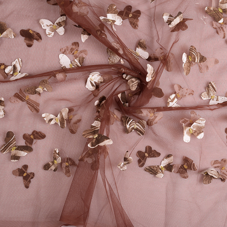 Brown Butterfly Embroidery Net Fabric-60671